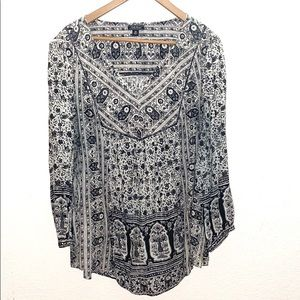 Lucky Brand Black & White Print 3X Peasant Blouse